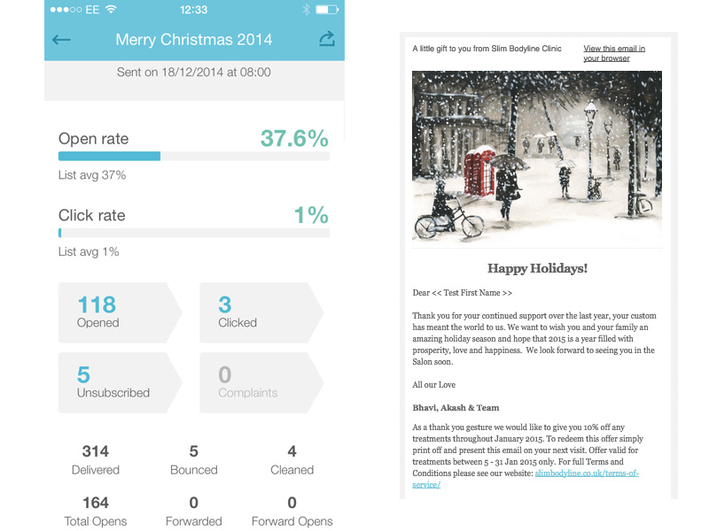 Here we have an example of a Merry Christmas email sent to 314 recipients. It shows delivery reports, open rates and click throughs